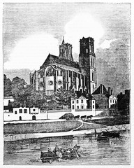 Ancient european church and a river foreground. Collegiate Church of Our Lady in Mantes-la-Jolie, France. Old Illustration by Jackson, published on Magasin Pittoresque, Paris, 1834