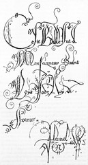 Ancient medieval fonts handmade on a white page. Old reproduction of 14th century bible page (Saint-Louis bible), published on Magasin Pittoresque, Paris, 1834