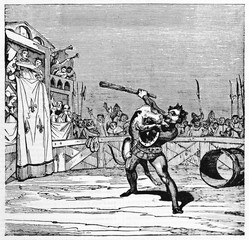 The dog and Macarie fighting in an arena as said medieval legend of Montargis dog. Old Illustration by unidentified author, published on Magasin Pittoresque, Paris, 1834