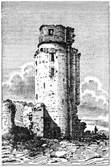 Old view of the keep in Montlhéry castle, France. By unidentified author, published on Magasin Pittoresque, Paris, 1834