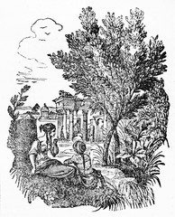 Olive tree standing in an ancient greek bucolic place close to ancient greeks persons. Old Illustration by unidentified author, published on Magasin Pittoresque, Paris, 1834.