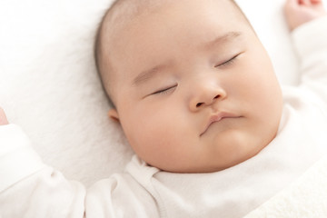 赤ちゃんの寝顔のアップ