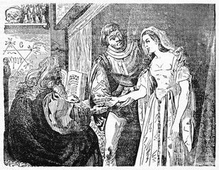 Fortune teller reads woman hand in a esoteric chiromancy room. Old Illustration by unidentified author, published on Magasin Pittoresque, Paris, 1834