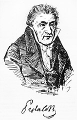 Half body portrait of Johann Heinrich Pestalozzi, Swiss pedagogue, in his ancient clothes. Old Illustration by unidentified author, published on Magasin Pittoresque, Paris, 1834