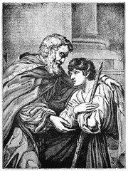 The Prodigal Son picture. Father and son. Old Illustration by Lionello Spada kept in Luovre museum. After Spada published on Magasin Pittoresque Paris1834