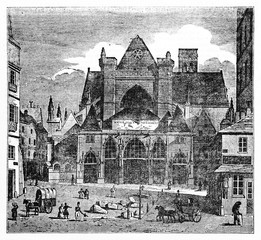 Old view of Saint-Germain l'Auxerrois church before restores and before neo-gothic steeple construction Paris. Created Old Illustration by Quartley published on Magasin Pittoresque Paris 1834