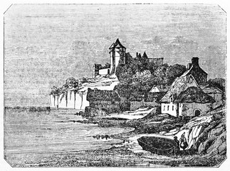 Suggestive ancient view of a medieval landscape with a castle on background, old houses, rocks and sea. Old Illustration by unidentified author published on Magasin Pittoresque Paris 1834