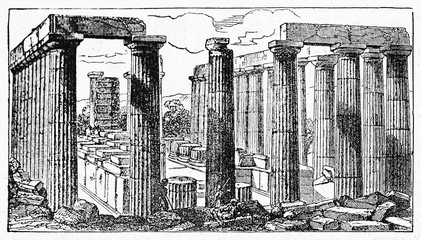 Ruins of stones and columns of Temple of Apollo Epicurius at Bassae Greece. Old Illustration by unidentified author published on Magasin Pittoresque Paris 1834