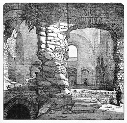 Foreshortening of a evocative medieval stone build, Thermes de Cluny (also known as Thermes de Julien) Paris. Old Illustration by unidentified author published on Magasin Pittoresque Paris 1834