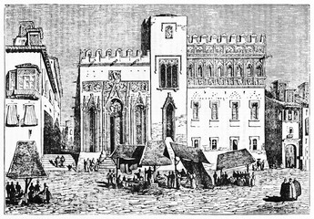 Medieval outdoor street market in front a spanish monument, Valencia stock exchange Spain. Old Illustration by Jackson published on Magasin Pittoresque Paris 1834