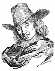 Ancient close up portrait of Adriaen van Ostade (1610 - 1685) Dutch painter, in his ancient clothes and hat. Old Illustration by Gigouc published on Magasin Pittoresque Paris 1834