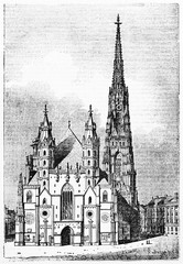 Majestic front view of gothic St. Stephen's cathedral Vienna Austria, with medieval building and square nearby. Old Illustration by unidentified author published on Magasin Pittoresque Paris 1834