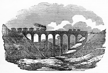 Overall ancient view of a arched stone bridge with a train passing on him, Voiron viaduct from Saint-Etienne to Lyon France. By unidentified author published on Magasin Pittoresque Paris 1834.