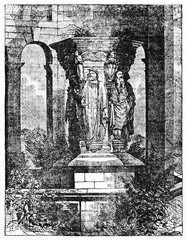 The Well of Mose Dijon France, ancient medieval stone monument holded by human statues. Rough illustration by unidentified author published on Magasin Pittoresque Paris 1834