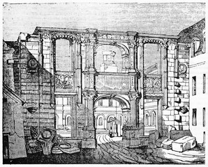 Arc the Gaillon (from Gaillon castle) when it was placed in the courtyard of the Ecole of Beaux-Ars in Paris. Old Illustration by unidentified author publ. on Magasin Pittoresque Paris 1834