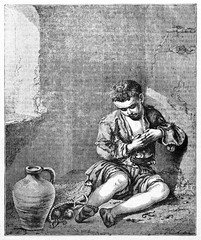 young sad poor beggar in a dreary dim light room wearing filthy clothes, ancient reproduction of a painting kept in Louvre museum Paris. After Murillo published on Magasin Pittoresque Paris 1834
