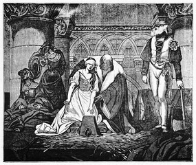Medieval beheading of Jane Grey, young woman accompained by a lord to the stump while the hangman wait for her. Old illustration by Paul Delaroche published on Magasin Pittoresque Paris 1834