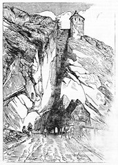 Ancient view of a rock crossed by a tunnel with a stone medieval tower on top. Porte Taillee in Besancon France. Created Old Illustration by Gigouc published on Magasin Pittoresque Paris 1834