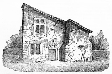 Medieval french country houses made in stone that were Joan of Arc birthplace in Domremy France. Old Illustration by unidentified author published on Magasin Pittoresque Paris 1834.