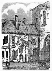 Isolated ancient country stone house owned by Adam Billaut (1602 - 1662) French carpenter poet and singer in Nevers. Old Illustration by unidentified author publ. on Magasin Pittoresque Paris 1834