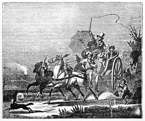 Ancient neapolitan calash with horses crossing fastly a countryside path, passengers on board and coachman. Old Illustration by unidentified author published on Magasin Pittoresque Paris 1834