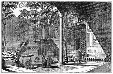 Majestic ancient internal courtyard of an arabian house in Cairo Egypt reach of middle oriental decoration and vegetation. Old Illustration by unidentified author, Magasin Pittoresque, Paris 1834