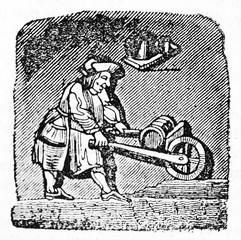 Ancient icon of a man in medieval clothes using a wheelbarrow. After drawing of destroyed misericord in Corbeil Saint-Spire cathedral. Published on Magasin Pittoresque Paris 1834