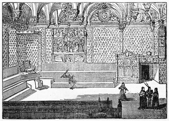 Old illustration of the Chambre Dorée in the Palace of Justice, Paris, France. By unidentified author, published on Magasin Pittoresque, Paris, 1834