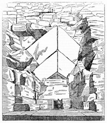 Ancient majestic view of the entrance of Great Pyramid of Giza Egypt. Small person compared with the stones large size. Old Illustration by unidentified author, Magasin Pittoresque Paris 1834