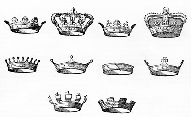 Collection of ten different types of crown for heraldic design, isolated on white background. Old Illustration by unidentified author published on Magasin Pittoresque Paris 1834