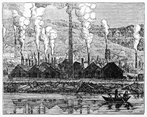 Ancient factory producing a large smoke and pollution amount in front of a river, Le Creusot foundry France. Old Illustration by unidentified author published on Magasin Pittoresque Paris 1834