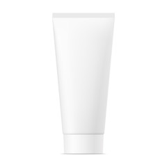 Realistic mock up of package. Vector white mat plastic tube with cap for cosmetics, body cream, skin care, gel, lotion, glue, toothpaste. Front side view. 3D illustration.