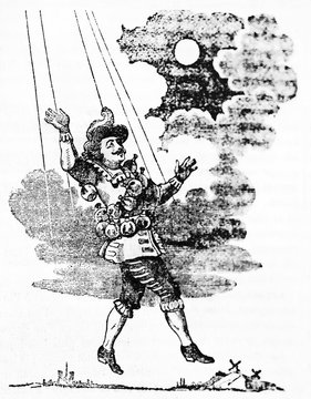 Cyrano de Bergerac similar to a marionette reaching the moon. Old Illustration by unidentified author published on Magasin Pittoresque Paris 1834