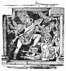 Ancient characters of Indian mythology, reproduction of Dus Awtar bas relief found in Ellora caves India. Old Illustration by unidentified author published on Magasin Pittoresque Paris 1834