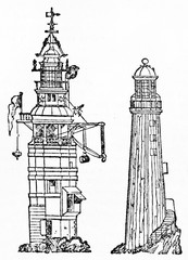 Two ancient lighthouses: Winstanley's the first from 1698 to 1703 and Rudyard's the second from 1709 to 1755. Old Illustration by unidentified author publ. on Magasin Pittoresque Paris 1834