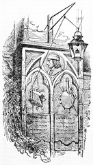 Ancient stone epitaph to Quentin Metsys in Antwerp cathedral exterior wall. Old Illustration by unidentified author published on Magasin Pittoresque Paris 1834