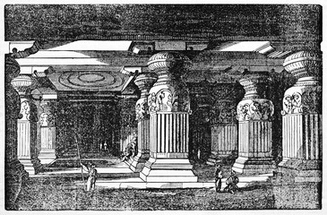 Mysterious dark evocative underground place full of enormous stone columns. Ellora caves, Indian archaeological site. Old Illustration by Sears published on Magasin Pittoresque Paris 1834.