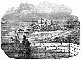 Top view of Harbour isle (and Petit B� tidal island in background) from Saint Malo rampart. Old Illustration by unidentified author published on Magasin Pittoresque Paris 1834