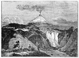 Ancient rocky landscape with a smoking volcano on background, Hekla volcano southern Iceland. Old Illustration by unidentified author published on Magasin Pittoresque Paris 1834