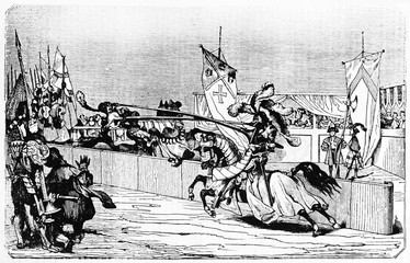 Medieval tournament with ancient knights battle on horse using the lance. Created Old Illustration by Jackson and Watter published on Magasin Pittoresque Paris 1834