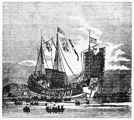 Ancient chinese vessel on the sea. Old Illustration by unidentified author published on Magasin Pittoresque Paris 1834