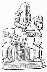 Antique chess piece: the Knight (The Charlemagne Chess set kept in the Cabinet des Medailles Paris). Old Illustration by unidentified author published on Magasin Pittoresque Paris 1834.