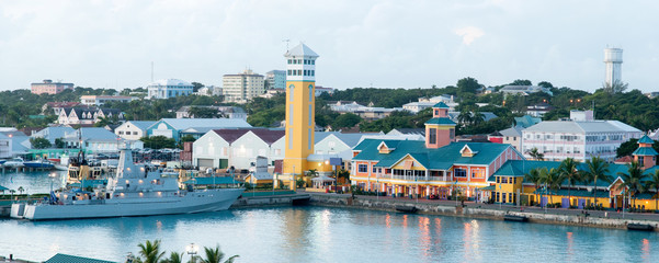 Acrylic Prints Caribbean Nassau At Dusk Panorama