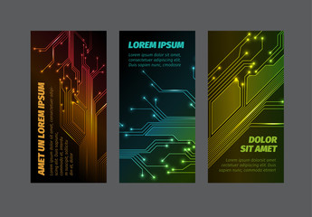 Set of Web Banners with Electronic Circuit Elements