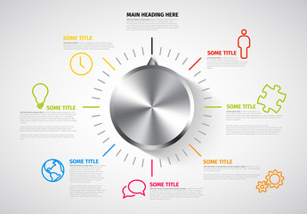 Metallic Knob Infographic with Colorful Business Icons