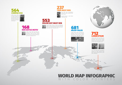World Map Infographic with Colorful Pointer Marks and Photo Effects