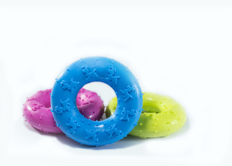 Rubber toys for pets. Pet supplies on isolated