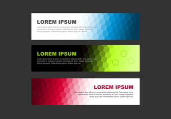 Hexagonal Gradient Web Banner Set