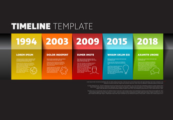 5 Section Colorful Paper Timeline Infographic on Dark Background