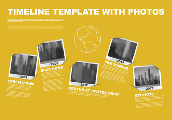 Photo Timeline Infographic with Blurred Effects on Dark Yellow Background